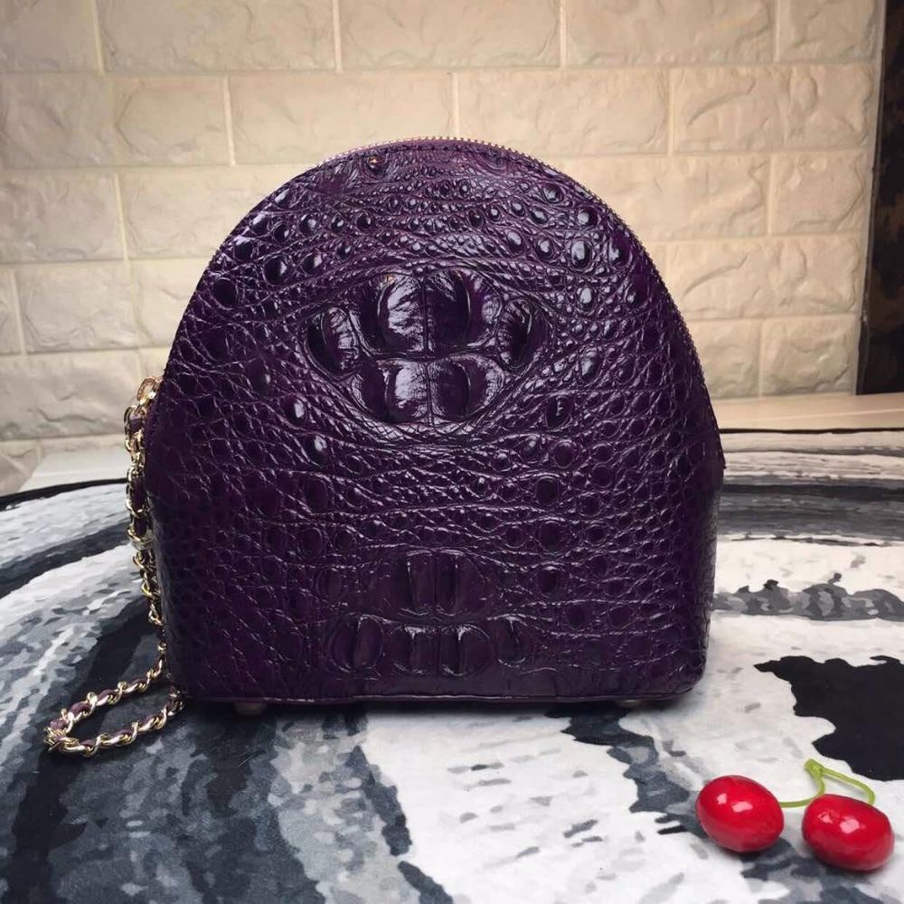100 Genuine Crocodile Skin Women s Half Moon Bag Zipper Closure Lady Shoulder Bag Alligator Leather