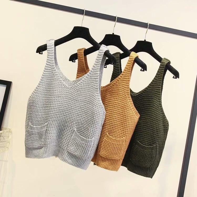Autumn Winter Women Sweater Sleeveless Vest Cotton Knitting Female Clothes