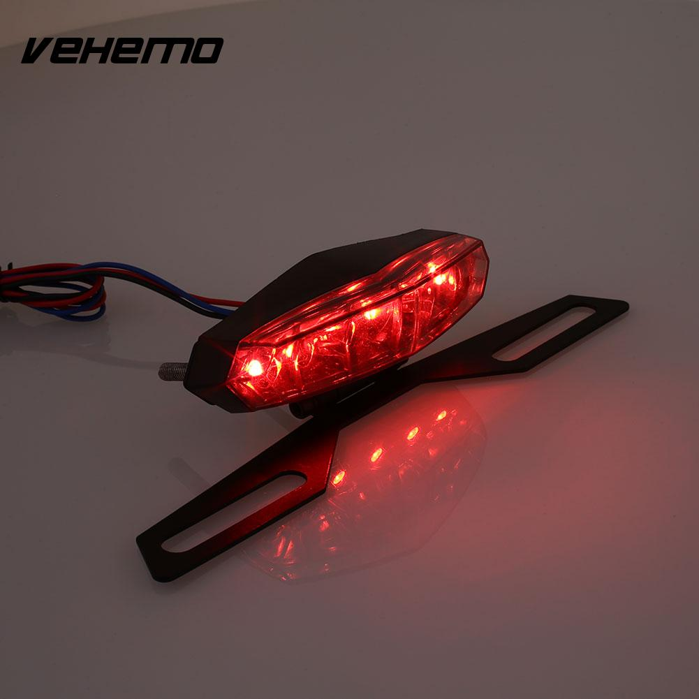 Vehemo Motorcycles DC 12V 6 LED Turn Signal Tail Brake License Plate Light Lamp xuankun off road motorcycle modified led taillights turn lights brake lights license plate tail lighthouse