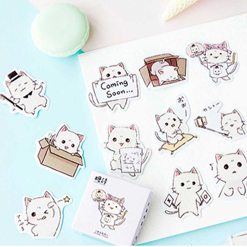 45 Pcs/box Cute Cat Stickers Scrapbooking Planner Paper Stick Label Decorative Diary Stationery Album Kawaii Japanese Sticker
