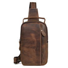 Chest Bag Crazy Horse Leather  for Men Daily Sling Man Cow Brown Ipad Phone Travel Casual brand Bags Handbags