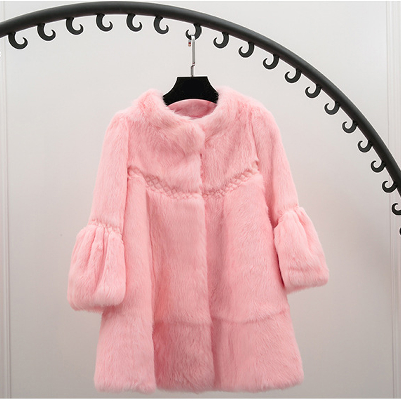 2018 Lapin Véritable Grey Fourrure Femmes Lâche Veste Pelt Naturel red Hiver Support Cut Complet De Manteau Élégant black beige light Col Purple Vague Survêtement pink Automne qZSzT