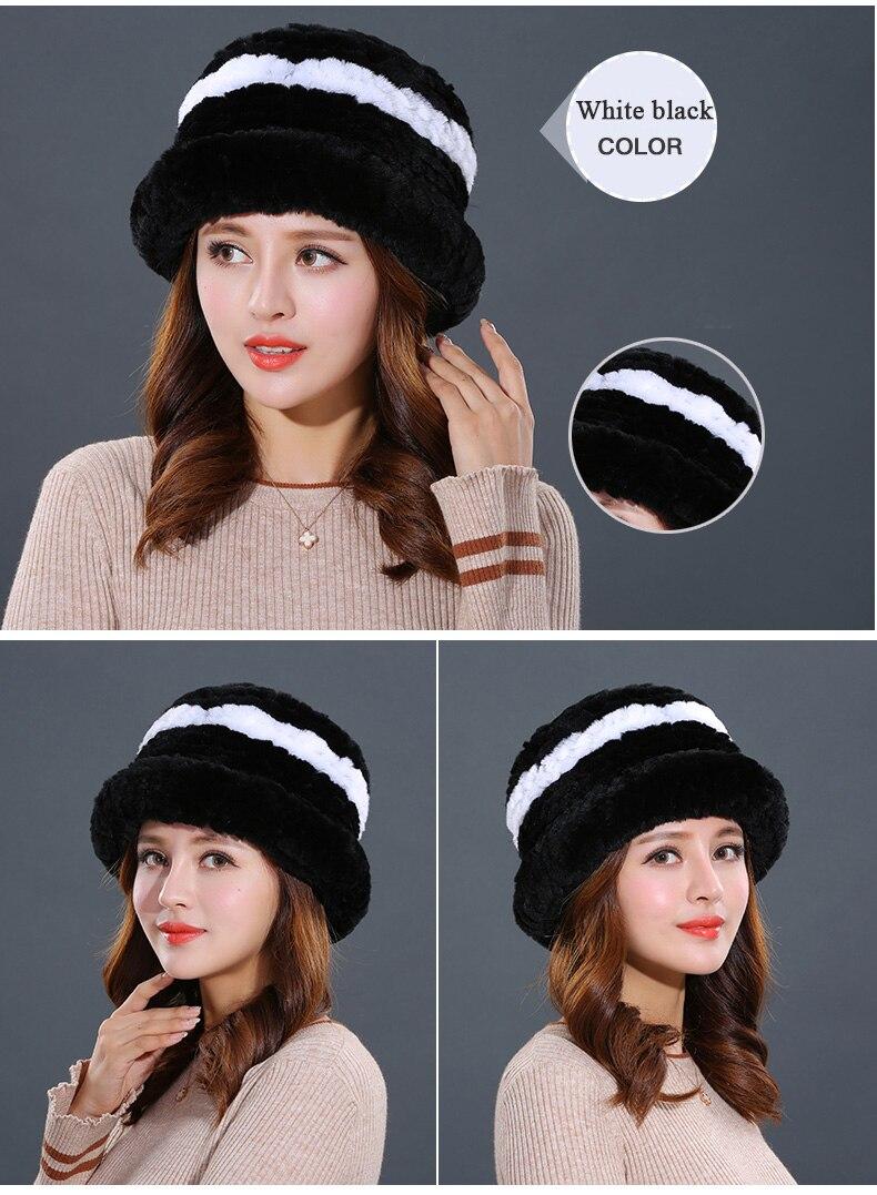 Luxury Natural Fur hats Fur Bucket Hat Russian Real Rex Rabbit Fur Hat Female Solid Women\`s Winter Cap Ladies (14)