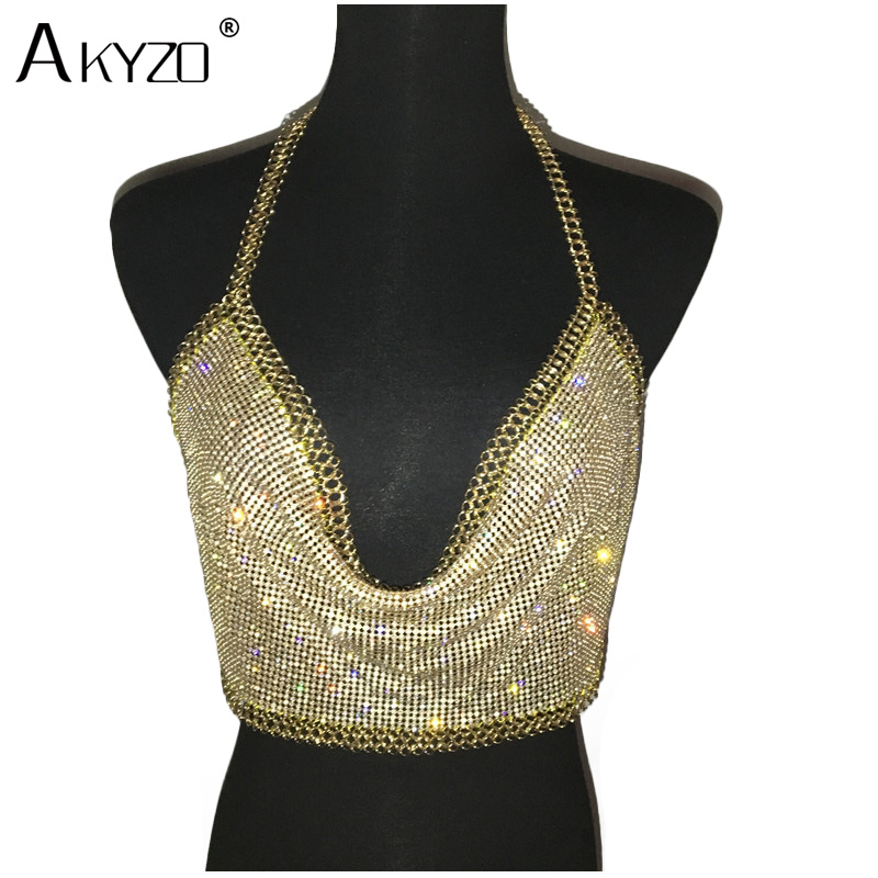AKYZO Women Backless Luxury Rhinestone Camis Crop   Top   Fashion Chunky Metal Chain Diamond Hollow Out Plunge Halter   Tank     Tops