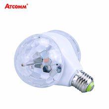 E27 RGB LED etapa efecto bombilla de cristal de rotación automática 6W 85-265V BOLA MÁGICA iluminación de discoteca cabeza de ducha doble