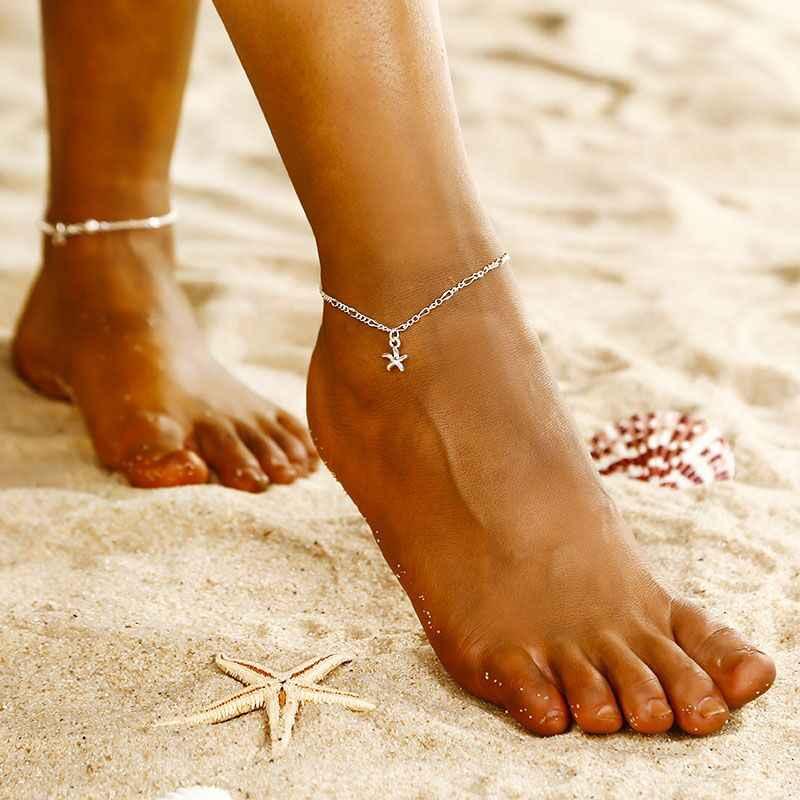 Simple Natural tobillera de conchas 2018 verano bohemio playa pulsera para mujer color plateado, doble capa pie venta al por mayor de joyería