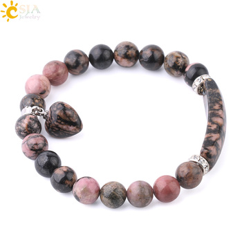 CSJA Natural Gem Stone Bangles Line Rhodonite Love Heart Fitting Healing Beads Bracelets 1