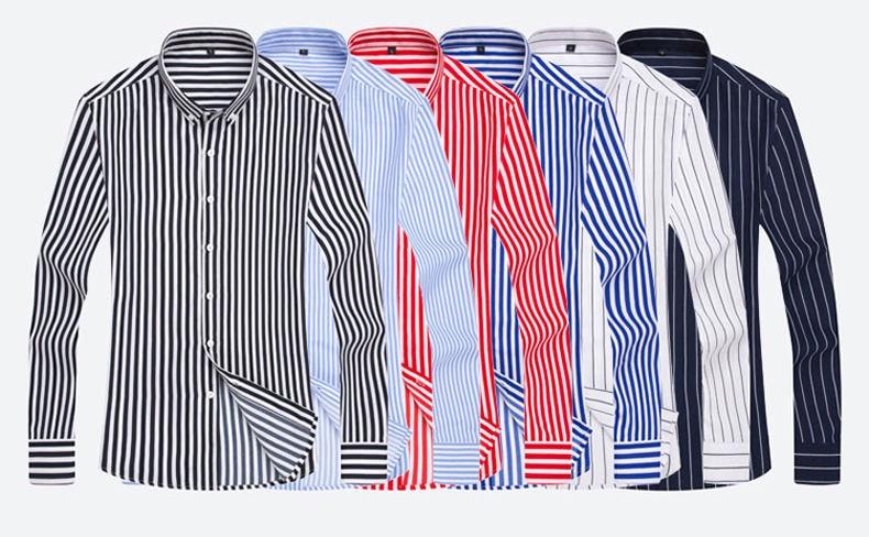 5XL Plus Large Size Striped Shirts Men Long Sleeve Casual Autumn Spring Classic Male Shirts Non-Iron Dress Shirts Man Muls Brand 2