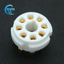 Free Shipping 10*ceramic K8A new 8-pin  gold tube sockets  base suitable PCB  for KT66,6V6,6B4G,6F6,6550,KT88,EL34,6CA7 Etc