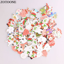ZOTOONE Mix Christmas Wodden Buttons For Clothing Needlework Scrapbooking Snowman Santa Claus Craft Sewing Accessories A