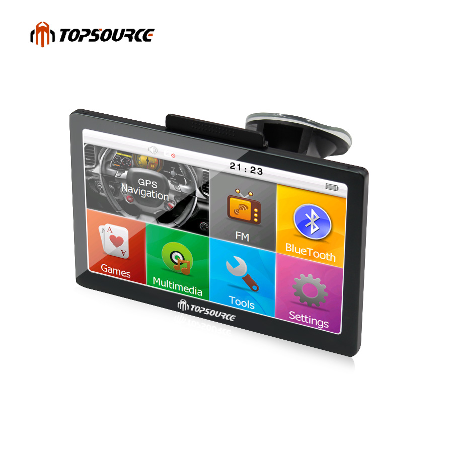 купить TOPSOURCE 7'' Car GPS Navigation HD navigator WinCE 6.0 8GB FM 800MHZ Free Map Upgrade Spain/Europe/USA+Canada Truck gps Sat nav по цене 2982.17 рублей