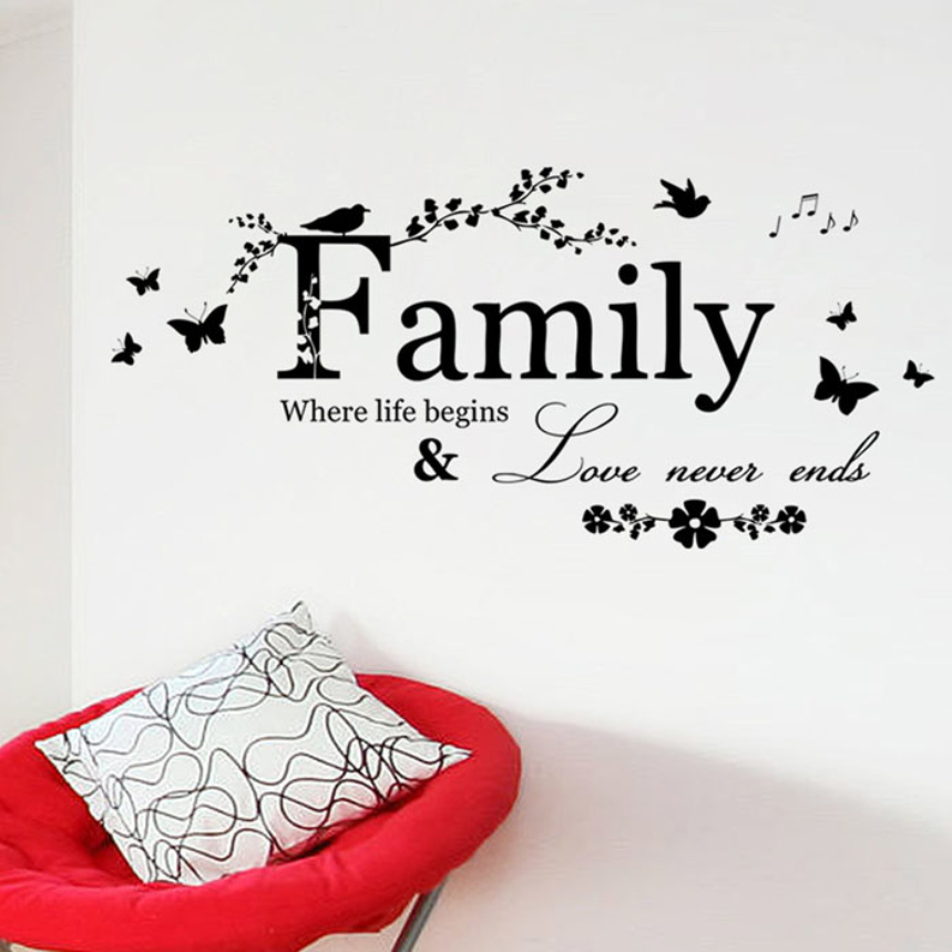Kakuder Top Grand Family Love Never Ends Quote Wall Decal Wall Lettering Art Words Wall Sticker Home Decor Wedding Decoration In Wall Stickers From Home