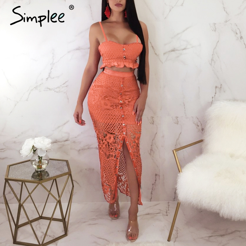 Image 4 - Simplee Hollow out bodycon midi women summer dress Embroidery two  piece co ord button female sundress Elegant holiday vestidosDresses