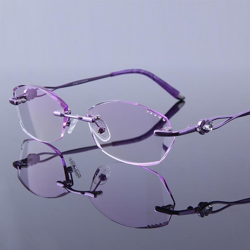 Rhinestone Reading Glasses Women High Clear Lenses Purple Frame Rimless  Female Hyperopia Frameless Ladies Presbyopic Eye Glasses af72c6e92e99