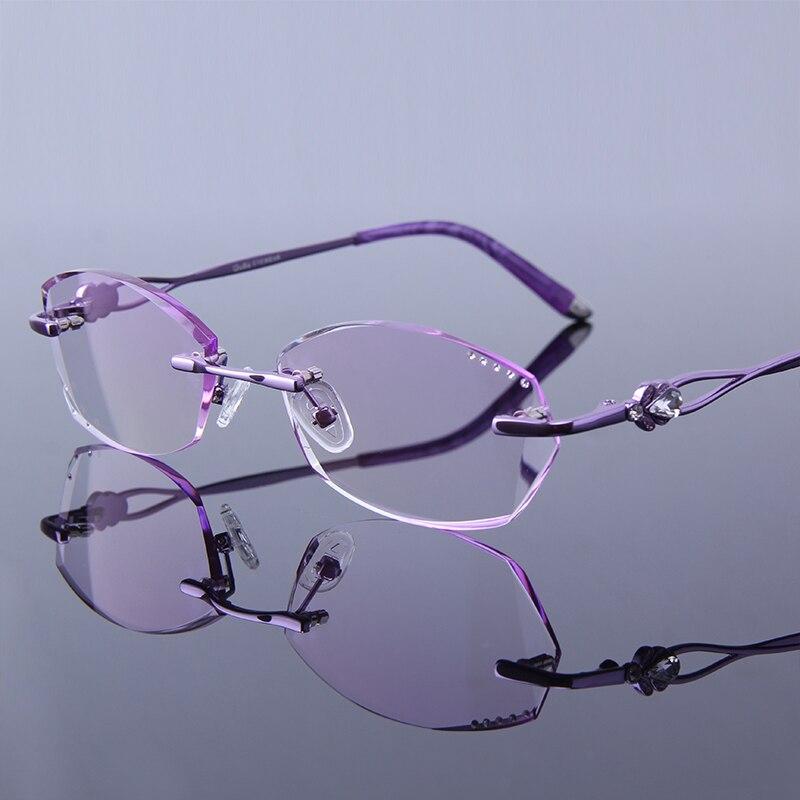59788bf8aee09 Strass Mulheres Óculos de Leitura Hipermetropia Alta Limpar Lentes Quadro  Roxo Óculos Sem Aro Feminino Sem Moldura Senhoras Presbiopia Vidros do Olho