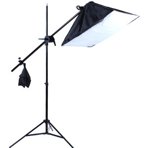 Image 2 - Top Hanger SoftBox set 1pc light stand 1pc light holder 1pc softbox photo equipment softbox kit 4socket arm boost softbox kit