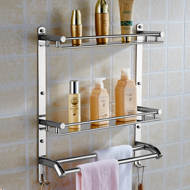 Wall Mount Stainless Steel 2 Layers Storage Basket Shower Room Bathroom  Towel Rack Soap Dish Shampoo Rack Bathroom Shelves In Bathroom Shelves From  Home ...
