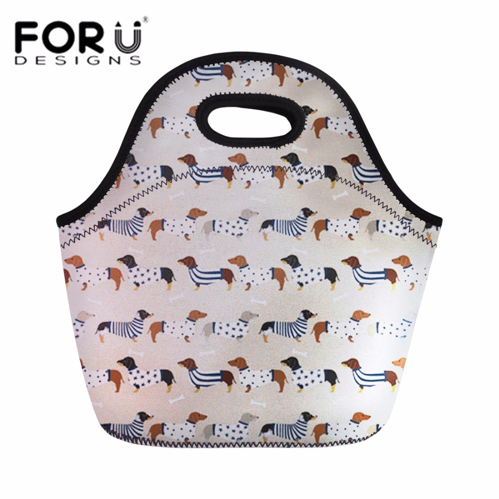 FORUDESIGNS Lunch Bag Women Fashion Handle Tote for Kids Girls Dachshund Dog School Park Picnic Lunch Box Thermal Large Storage