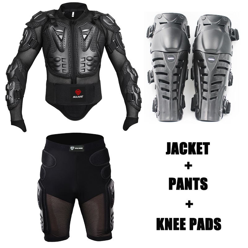 One Set Motocross Body Protection Motorcycle Jacket Spine Chest Protective Armor Moto Shorts Pants Motorbike Knee Pads Protector herobiker black motorcycle racing body armor protective jacket gears short pants motorcycle knee protector moto gloves