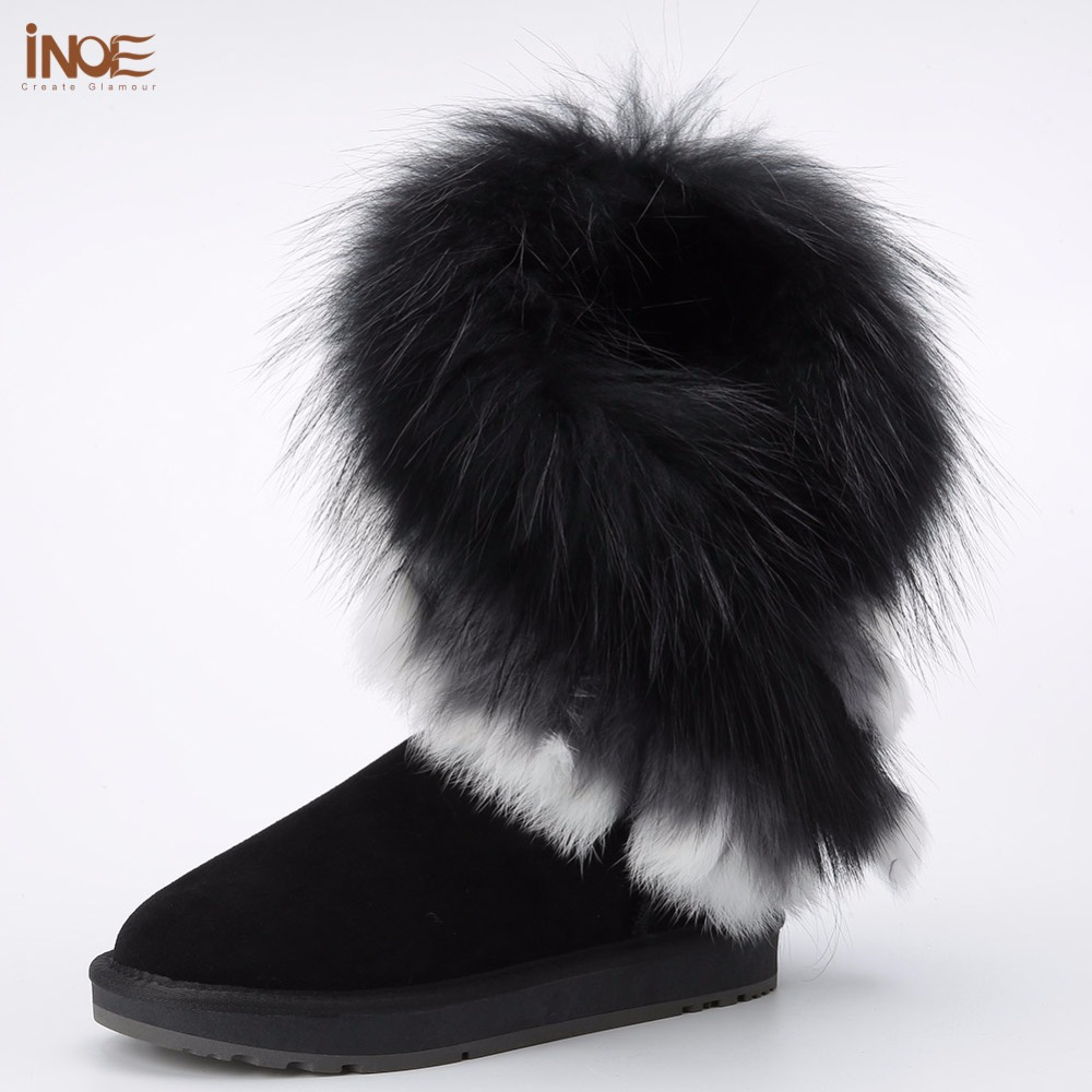 INOE real fox fur tassels sheepskin leather sheep fur lined fashion suede winter snow boots for women winter shoes black brown inoe 2018 new genuine sheepskin leather sheep fur lined short ankle suede women winter snow boots for woman lace up winter shoes