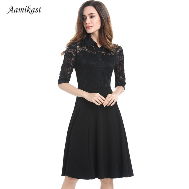 2018 Spring Autumn Women Elegant Lace Notched Middle Sleeve Vintage Pinup  Retro Rockabilly Party Wiggle Evening Business Dress 18991404c5da