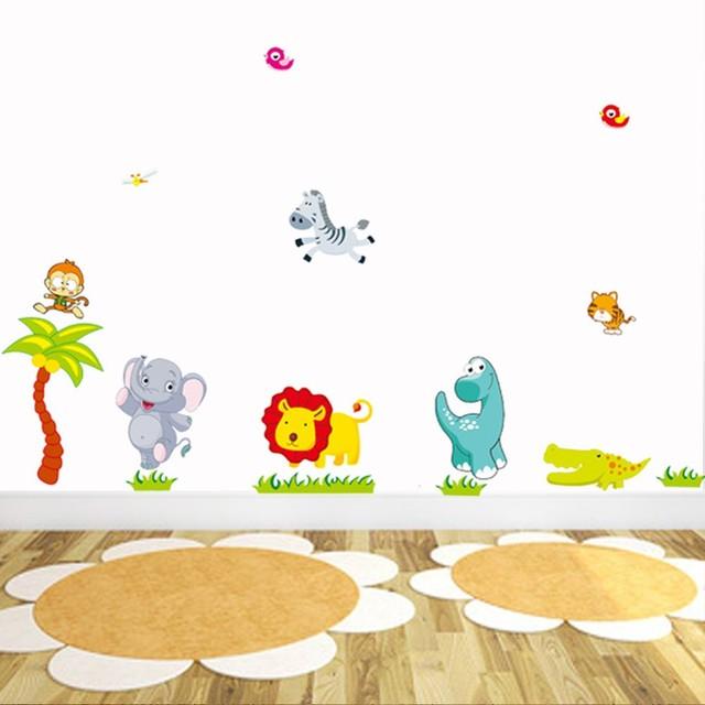 Cartoon Jungle Animal Wall Stickers