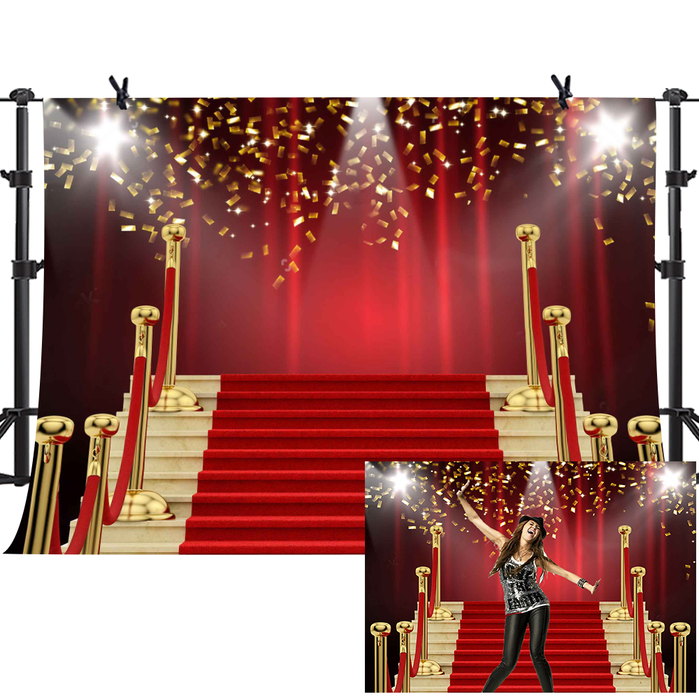 MTMETY Red Curtain Background Red Carpet Stairs Props Vinyl Photography Video Backdrop for Graduation Party Decoration