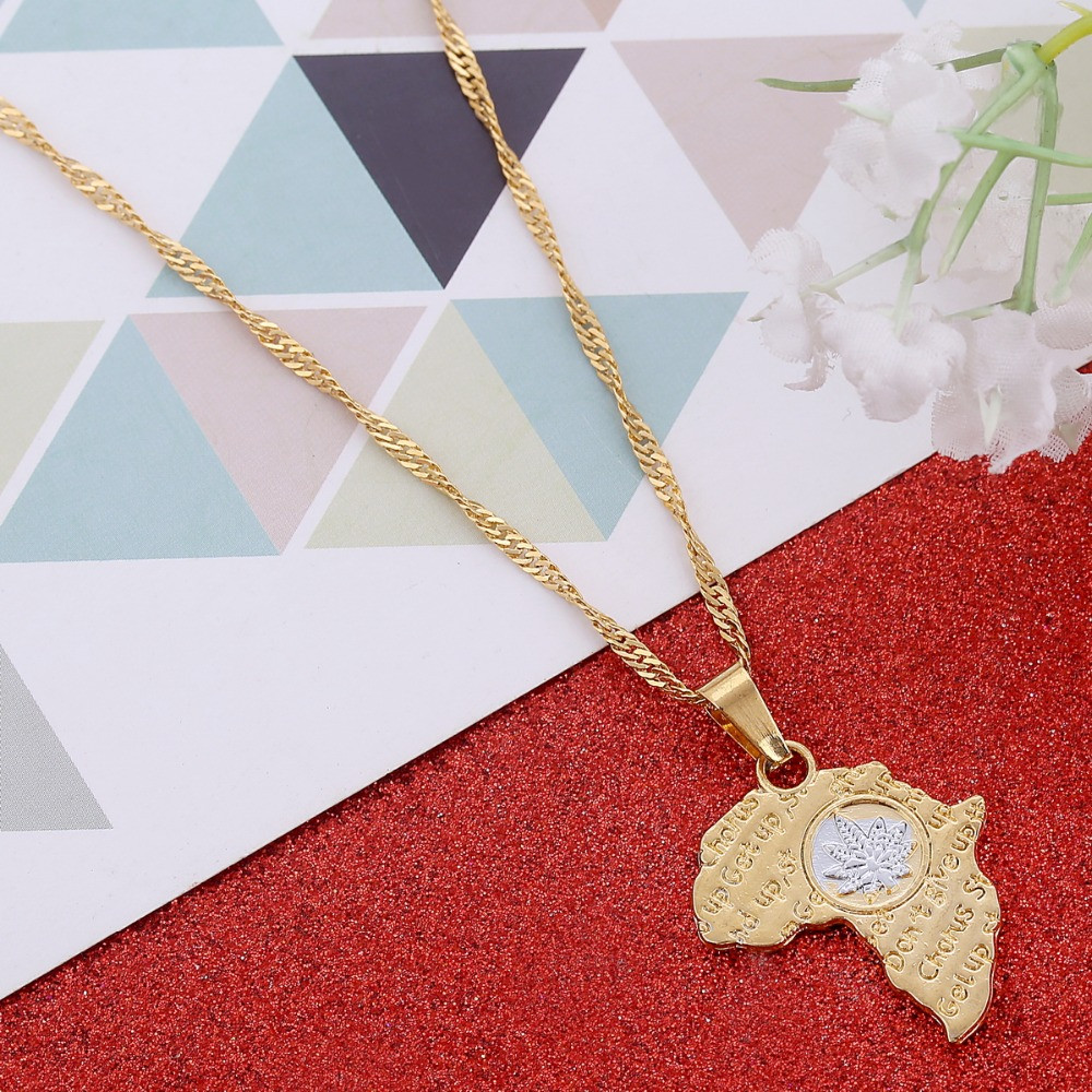 Wholesale Women Gold <font><b>Cannabiss</b></font> Small Weed Charm <font><b>Necklace</b></font> African Map Pendant Jewelry image