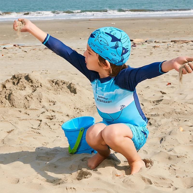 Children Boy 3pcs Set Swimwear Swimsuit Bathing Suit Beachwear Suit Boy Split Swimming Suit Baby Sun-Proof Swimsuit Swimming Cap