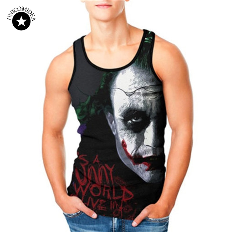 Plus Size Cool Joker   Tank     Top   Sleeveless Shirt Summer 3D Print Fitness Undershirt Casual Mens Anime Vest Boy Bodybuilding