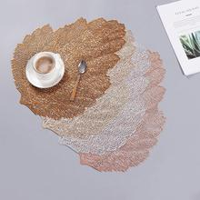 Placemat Dining Table Coasters Simulation Leaf Plant PVC Cup Western Food Insulation Pad Table Mats Kitchen Christmas Home Decor placemat for dining table world map kitchen placemat coaster dining table mats cotton linen pad bowl cup mat 42 32cm home decor