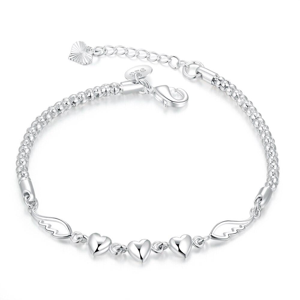 925 Sterling Silver Double Angel Wings Heart Charm Bracelets For Women  Fashion Crystal Sterlingsilver