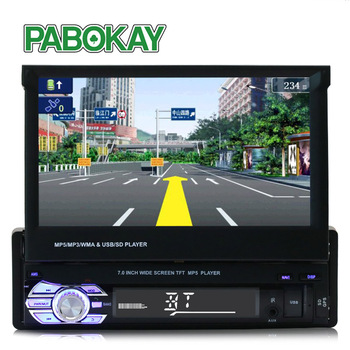 HD 7 inch Retractable Touch Screen 1 DIN Stereo Car auto Radio MP5 GPS Navigation Bluetooth video player Monitor image