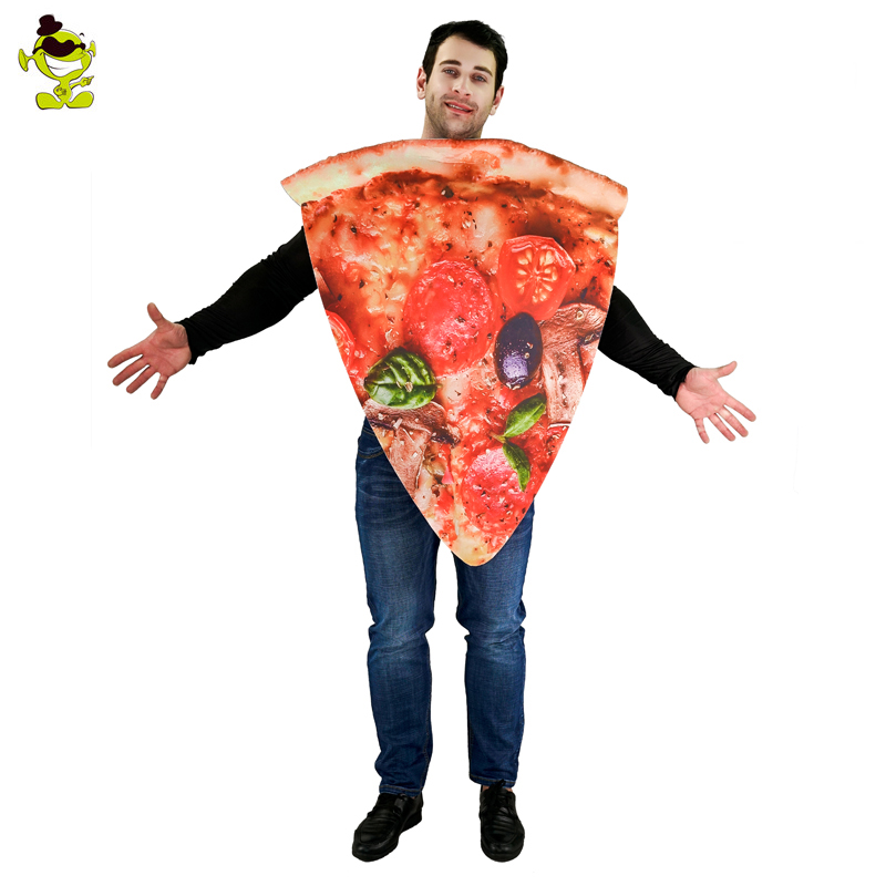 New Adults Men Pizza Slice Costume Food Cartoon funny Jumpsuit For Carnival Shopping Mall Party Activities Cosplay Performance