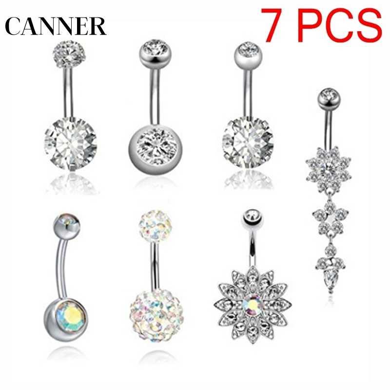 CANNER נירוסטה בטן פירסינג כפתור טבעת אנטי אלרגיה כירורגית 7 pcs סט כסף צבע טבור יחיד קריסטל ריינסטון R4