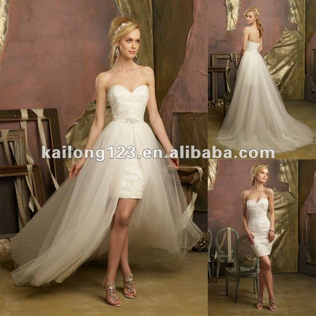 Tulle Overskirt Wedding Dresses Mermaid Bateau Neck Simple: Lovely Sweetheartt Beaded Lace Short With Tulle Overskirt