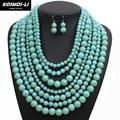 Maxi Necklace New Fashion Imitate Turquoise Stone Resin Bead Multi Layer Strand Boho Necklace For Women Hyperbole Jewelry 6560
