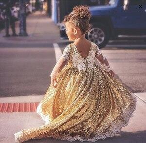 Image 3 - Brillante hi lo lentejuelas doradas de manga larga vestidos de flores para niñas y bebés traje para fiesta de noche de cumpleaños con tren largo
