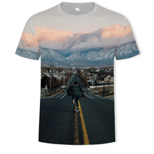 2019 3D Printing Landscape Painting Round Collar Short Sleeve T-shirt Summer Road, hills, sunset streetwear