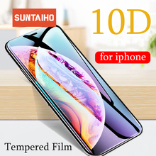 Suntaiho 10D Full Cover Tempered Glass for iPhone 7 plus 8 plus 6s for iPhone Xs Max Xr X Screen Protective Glass Anti-Explosion