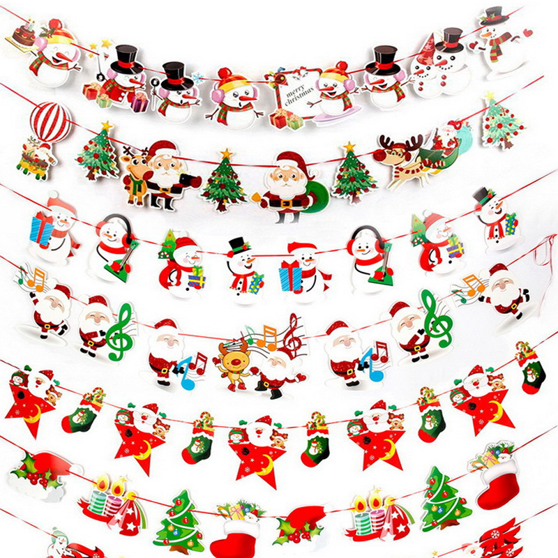Baby Room Banner Flag Hat Toys Party Snowman Santa Claus Christmas Letter Christmas Decoration For Home Toys Flags Hat Kids Toy