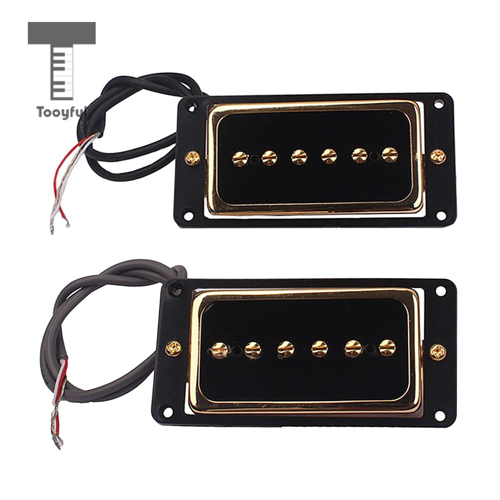 Tooyful Alnico 5 Humbucker Pickup Bridge Neck Set P90 for Electric Guitar Accessory belcat electric guitar pickups humbucker alnico 5 humbucking bridge neck chrome double coil pickup guitar parts accessories