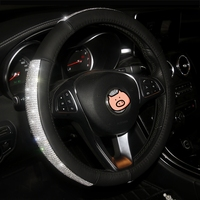 3 Color Luxury Crystal Car Steering Wheel Covers for Women Girls Leather Rhinestone Covered Steering Wheel Interior Accessories