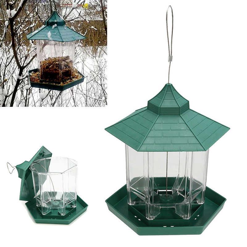 1 cái Không Thấm Nước Bird Feeder Treo Gazebo Hoang Dã Bird Feeder Công Cụ Cho Ăn Nhựa cho Ngoài Trời Vườn Trang Trí