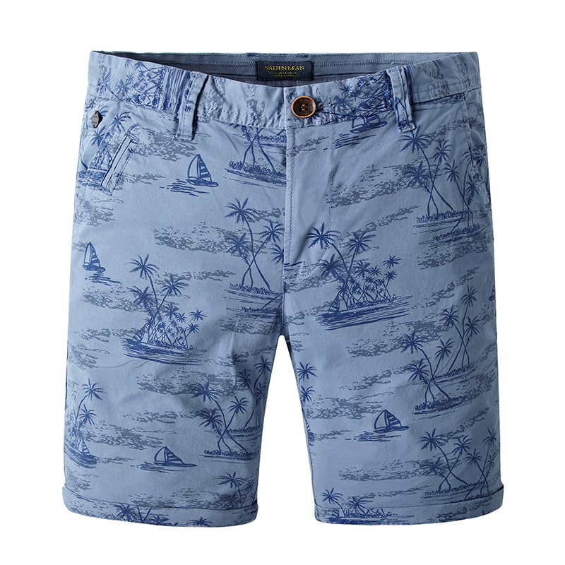 2018 New Summer Men Cotton Fabric Bermuda Shorts Stretch Male Khaki Casual Short Pants Print Mens Breeches Fashion Beach Shorts