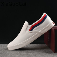 White and Black Flat Men Casual Shoes Cool Fashion Unisex Sneakers Slip on