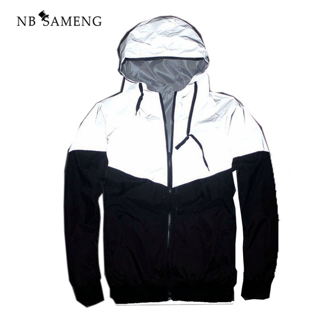 2017 Summer Hip Hop New Brand 3m Reflective Jacket Men&Women Fashion Reflectives Windbreaker Hooded Plus Size S-XXL NSWT121