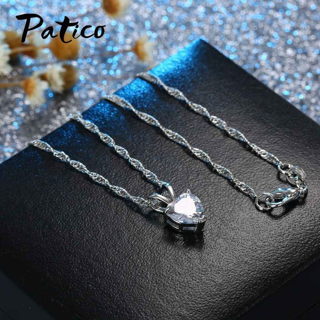 PATICO Romantic Heart CZ Pendant Necklace For Women Ladies 925 Sterling Silver 18 3