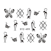 1PCS Popular Black Sticker Nail Art Necklace Jewelry Cat Butterfly Pendant Manicure Tips Nail Water Transfer