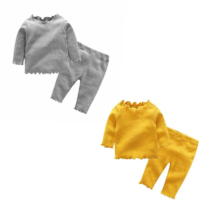 Winter Warm Sweater Knit Pants For Baby Girls 2pcs/Set Baby Boys Girls European Agaric-Lace Sleeve Solid Color Top+Pants Costume kids baby toddler boys girls winter knit warm soft beanie hat hairball cap